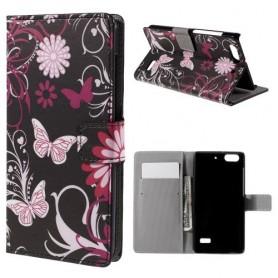 Huawei Honor 4C kukkia ja perhosia puhelinlompakko