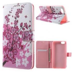 Huawei Honor 4X vaaleanpunaiset kukat puhelinlompakko