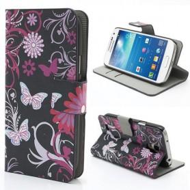 Samsung Galaxy S4 mini kukkia ja perhosia puhelinlompakko