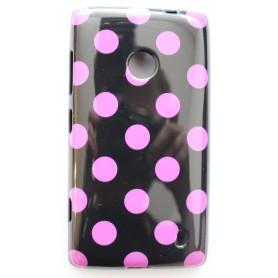 Lumia 520 musta-pinkki polka dot suojakuori.