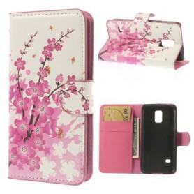 Samsung Galaxy S5 mini vaaleanpunainen kukka puhelinlompakko