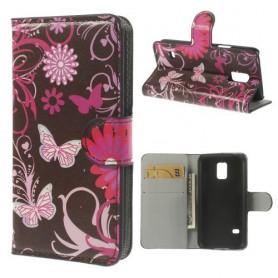 Samsung Galaxy S5 mini kukkia ja perhosia puhelinlompakko