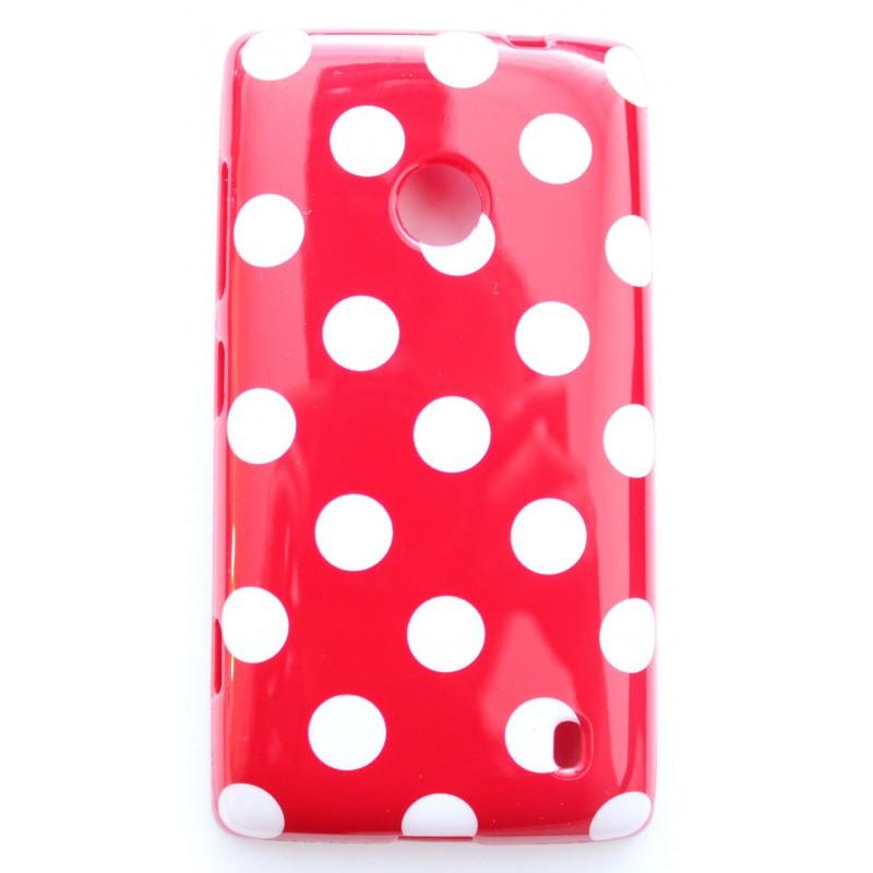 Lumia 520 punainen polka dot suojakuori.