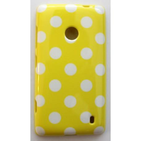 Lumia 520 keltainen polka dot suojakuori.