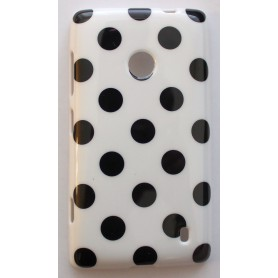 Lumia 520 valkoinen polka dot suojakuori.