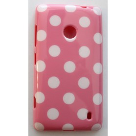 Lumia 520 vaaleanpunainen polka dot suojakuori.