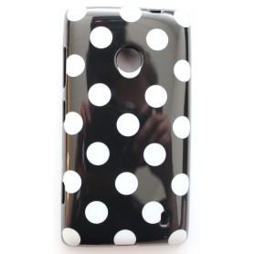 Lumia 520 musta polka dot suojakuori.