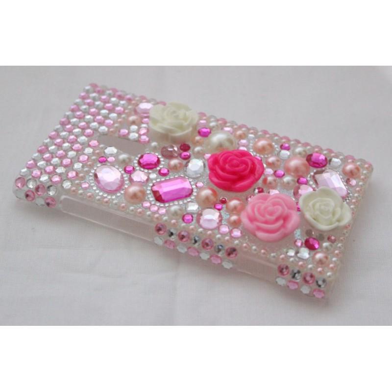 Lumia 800 bling suojakuori vaaleanpunaiset kohokukat.