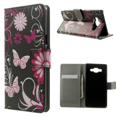Samsung Galaxy A5 kukkia ja perhosia puhelinlompakko