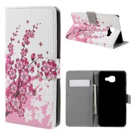 Samsung Galaxy A5 2016 vaaleanpunaiset kukat puhelinlompakko