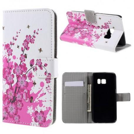 Samsung Galaxy S7 vaaleanpunaiset kukat puhelinlompakko