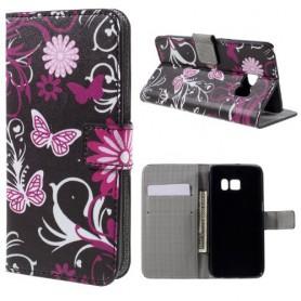 Samsung Galaxy S7 kukkia ja perhosia puhelinlompakko