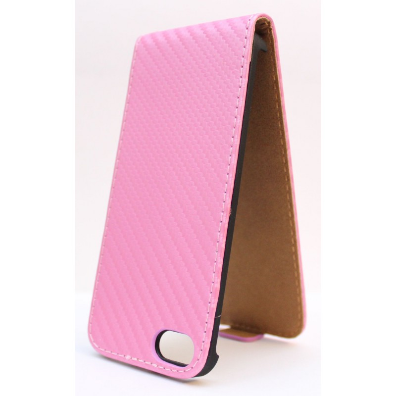 Apple iPhone 5 vaaleanpunainen läppäkotelo.