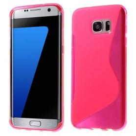 Samsung Galaxy S7 edge roosan punainen silikonisuojus.