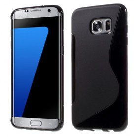 Samsung Galaxy S7 edge musta silikonisuojus.