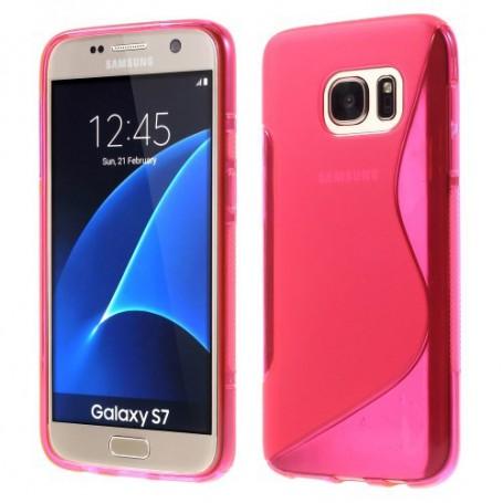 Samsung Galaxy S7 roosan punainen silikonisuojus.