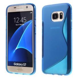 Samsung Galaxy S7 sininen silikonisuojus.
