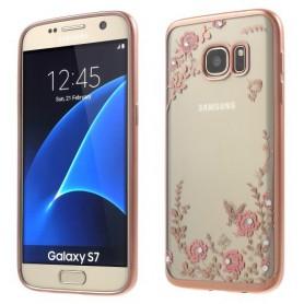 Samsung Galaxy S7 pinkit kukat silikonisuojus.