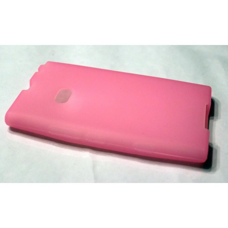 Lumia 900 vaaleanpunainen silikoni suojakuori.