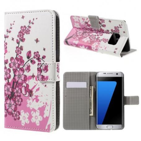 Samsung Galaxy S7 edge vaaleanpunaiset kukat puhelinlompakko