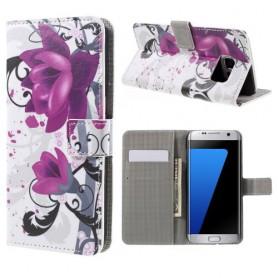 Samsung Galaxy S7 edge violetit kukat puhelinlompakko