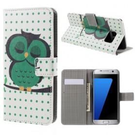 Samsung Galaxy S7 edge vihreä pöllö puhelinlompakko