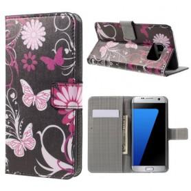Samsung Galaxy S7 edge kukkia ja perhosia puhelinlompakko